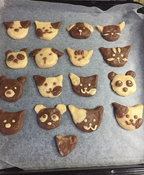 動物クッキーレシピ 生地を並べて焼く